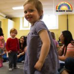 Happy toddlers in music class