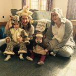 Family dressed up in animal costumes for music class!